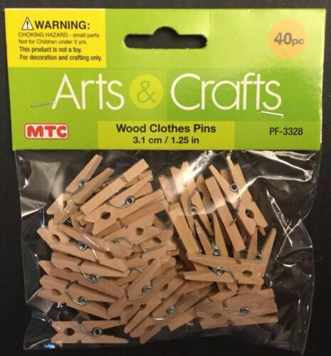 Package Of 40 Mini Wood Wooden Clothes Pins Crafts Art Create 1.25 Inch//3.1 cm