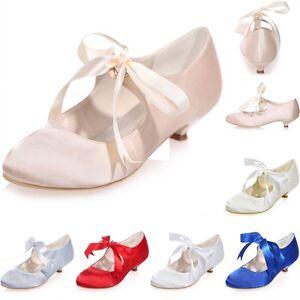 Image Is Loading Elegant New Wedding Bridal Shoes Low Kitten Heel