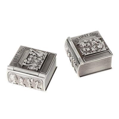 My First Tooth /& Curl Silver Trinket Box Set Keepsake Baby Shower Birthday Gifts