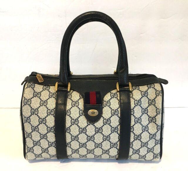 7bb54ae6e Authentic Vintage GUCCI Web Boston Doctor Bag Satchel Purse Handbag GG  Stripe