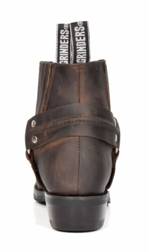 Real Leather Chelsea Boots Cowboy Biker Style Slip On Square Toe Shoes Brown
