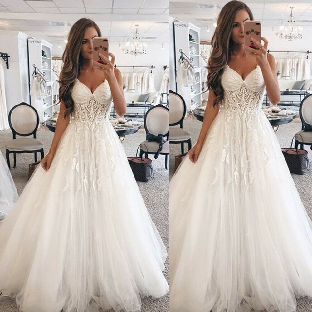 Princess V Neck Wedding Dresses A Line Lace Appliques Tulle Gown White Ivory