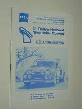 Règlement Course Auto 2ème Rallye Nivernais 1986 RENAULT 5 Turbo R5  catalogue