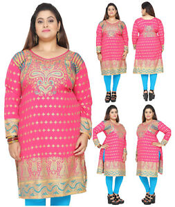f29496e0bef0a ... plus size pink polyester women indian kurti tunic kurta top shirt ...