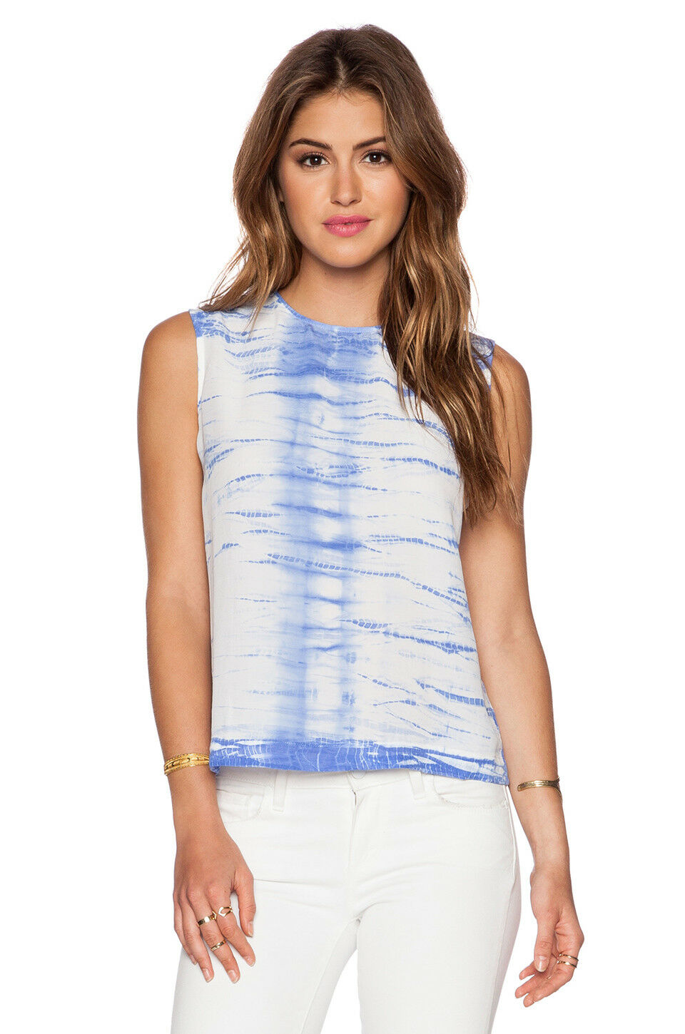 EQUIPMENT   AMPARO blueE TIE DYE SILK REAGAN BLOUSE TANK TOP SHIRT   S