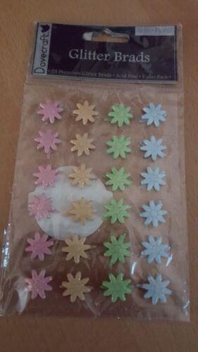 Split Pins Dovecraft Glitter Brads 24 Pieces Acid Free Various Colour Packs