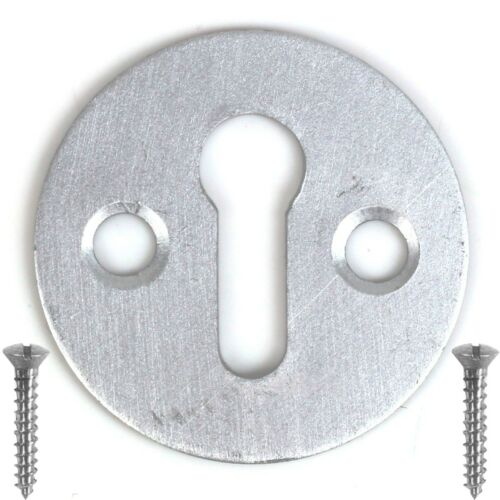 OPEN ALUMINIUM KEYHOLE COVER 30mm Silver Escutcheon Front Back Door Key Plate
