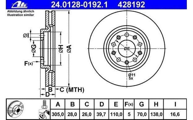 ATE Juego de 2 discos freno 305mm ventilado para ALFA ROMEO 159 24.0128-0192.1