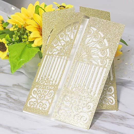 50x paillettes Personnalisé Découpe Laser Impression mariage invitation carte + enveloppes