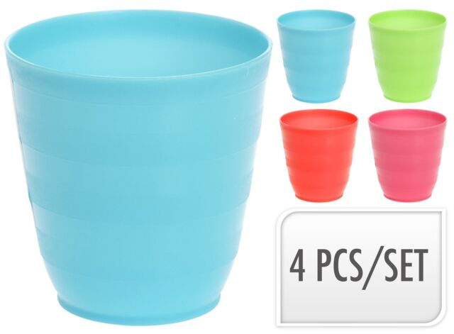 1b8f4f4d12a Set of 4 Plastic Drinking Glasses Cups /mugs for Kids Party Outdoor ...