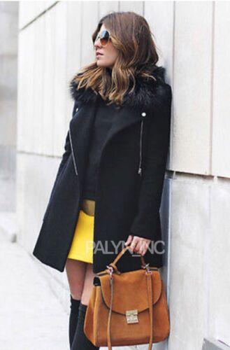 s in 249 7890 con Zara in 744 staccabile cerniera cappotto pelliccia lana collo lungo sintetica Nwt IfnZwdqq