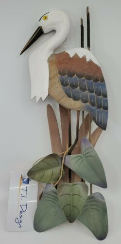 Heron Carved Wood /& Metal Cattails Leaves Wall Sculpture