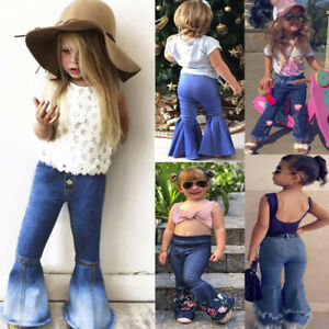 elegant appearance uk cheap sale amazon Details about Children Toddler Kids Baby Girls Flare Pants Denim Tassel  Clothes Jeans Pants US