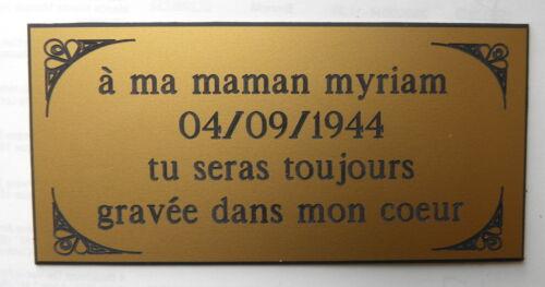 plaque gravée Funéraire 3 ou 4 lignes + enjolivures  format  200x98 mm