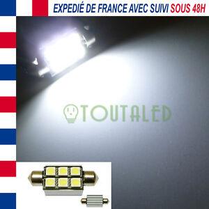 AMPOULE LAMPE NAVETTE C7W 39MM 12V 6 LED 5050 BLANC XENON ANTI ERREUR ODB CANBUS
