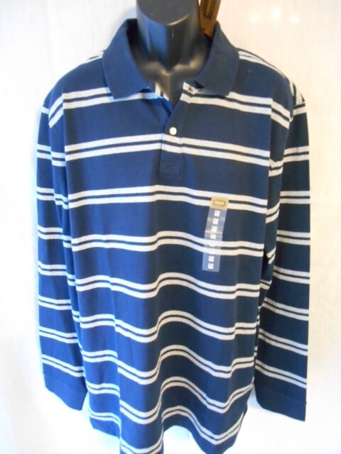 Foundry 100% Cotton Navy Striped Long Sleeve Polo SR$40 NEW