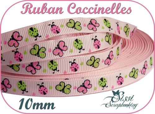 RUBAN GROS GRAIN ROSE COCCINELLE PAPILLON SCRAPBOOKING SCRAP CARTE COUTURE 10mm