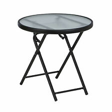 Outdoor Patio Side Round Folding Table Glass Top Coffee Garden Furniture Metal