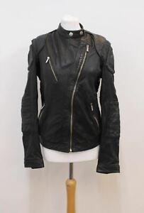 Just-Cavalli-Damen-Schwarz-Perforiert-Leder-Asymmetrische-Reissverschluss-Jacke-uk12-it44