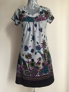 G-heaven-Womens-Jumper-Dress-Size-8-10-Grey-Multicoloured-Floral-With-Pockets