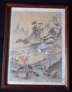 Dessin-landscape-peinture-japonaise-Old-japan-painting-mark-signed-chinese