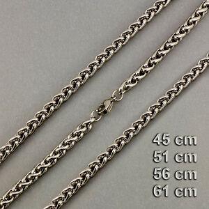 5 Mm Zopfkette Edelstahl Halskette Längen 45 / 51 / 56 / 61 Cm
