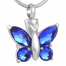 Stainless Steel Butterfly Cremation Pendant Urn Jewelry Holds Pet Ashes Human BL
