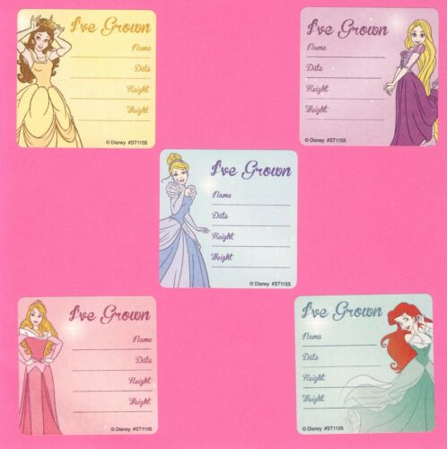 Belle 10 Disney Princess I/'ve Grown Height and Weight Large Stickers Rapunzel
