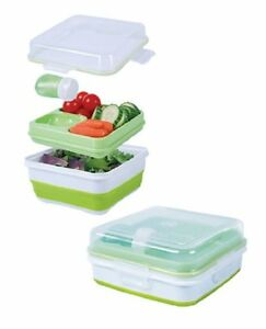 Cool-Gear-Salad-To-Go-Container-Set-Collapsible-Storage-Keep-cool-Lunchbox-Lid