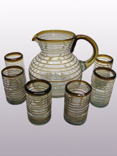 Mexican Glassware Amber Spiral pitcher and 6 drinking glasses set