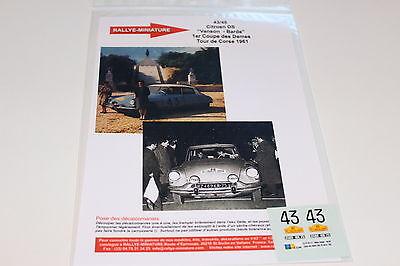 Decals 1/43 Citroen Ds N°43 Rallye Tour De Corse 1961 Rally Wrc