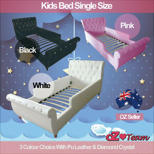 Kids-Girls-Boys-Children-Baby-Bed-Frame-PU-Leather-Diamond-Crystal-Single-Size