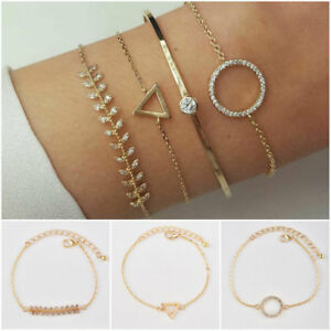 Gold-Plated-4Pcs-Set-Crystal-Circle-Leaf-Triangle-Open-Cuff-Bangle-Bracelet-Gift