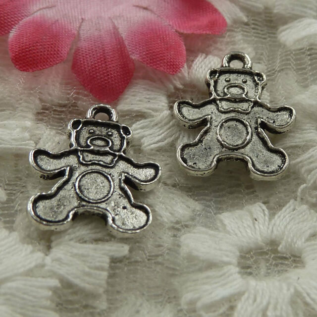 free ship 80 pieces Antique silver bear charms 18x15mm #4070