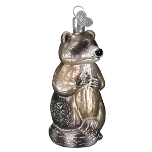 Old-World-Christmas-RACCOON-12146-N-Glass-Ornament-w-OWC-Box