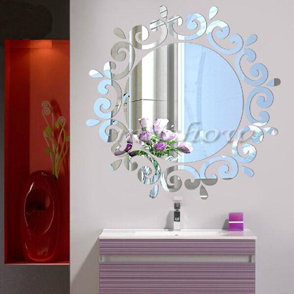 Modern Wall Mirror Home Washroom Decal Decoration Acrylic Vinyl Art Stickers DIY