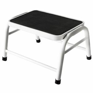 Image Is Loading One Step Stool White Metal Anti Slip Rubber