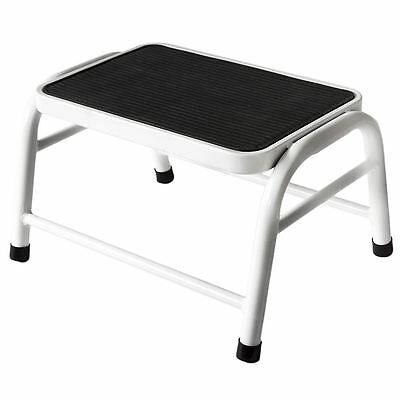 One Step Stool White Metal Anti Slip Rubber Mat Kitchen Ladder By Home Discount