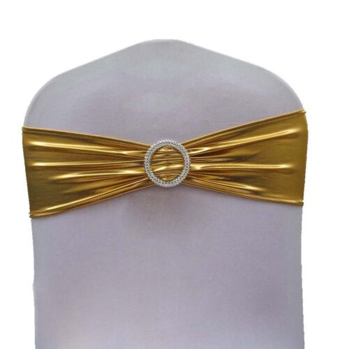 250 Metallic Spandex Chair Band for Folding Banquet Lycra Universal Chair Covers