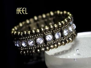 Bracelet Argenté Elastique Cristal Clair Rouge Cinq Rang Vintage Retro CT7