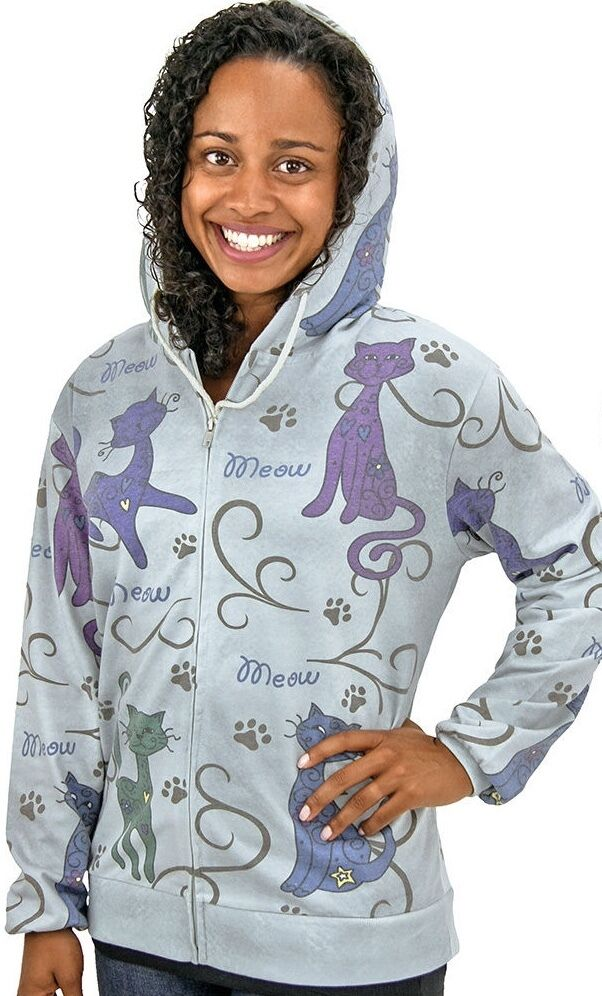 FESTIVAL CATS ZIPPERED HOODIE   Women's Size X-Large