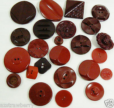 VTG Mix Lot of 24 assorted color burgundy red size all bakelite carved buttons