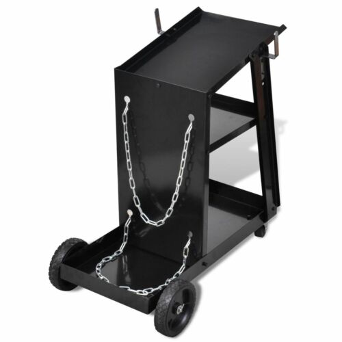 3-Tier Welding Cart Welder Trolley Shelves Workshop TIG Organiser Storage Black