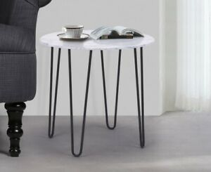 Details About Round Industrial Coffee Table Vintage Small Side Table Marble Effect Bedside