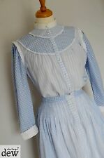 """1980's does 1930's prarie GINGHAM cotton DRESS skirt blouse XS 6 25"""" VINTAGE"""