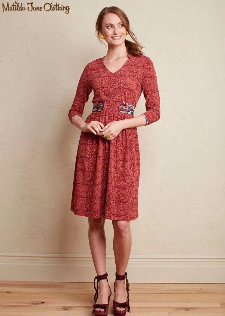 NWT Matilda Jane Arianna Dress Brick rot Orange Paisley Tie Waist Größe S Small
