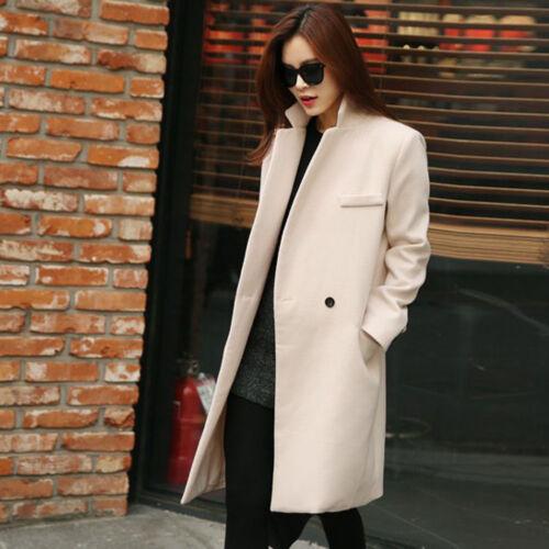 Winter Women/'s Stylish Loose Lapel Wool Blend Trench Coat Outwear Long Sleeve