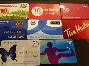 8x Gift Cards Collection No Value Golf Kobo Petro Bell Esso Telus