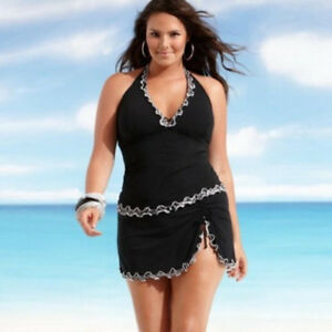 f75f90940e 2pc Sexy Plus Size Women Push-up Swim Dress Tankini Sets Black ...