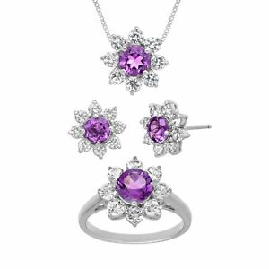 5-7-8-ct-Natural-Amethyst-amp-Created-White-Sapphire-Set-in-Sterling-Silver